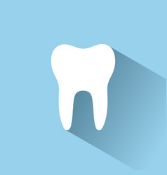Tooth flat icon with shadow on a blue background vector