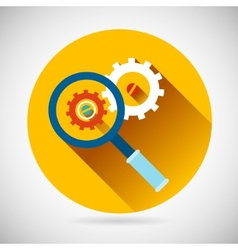 Troubleshooting Symbol Magnifying Glass and Gears vector image