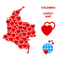 valentine colombia map mosaic of hearts vector image