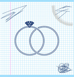 wedding rings line sketch icon isolated on white vector image