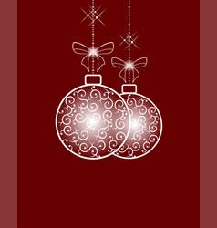 white christmas retro ball vector image