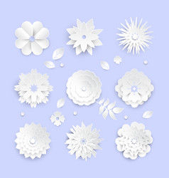 white paper cut flowers - set of modern vector image