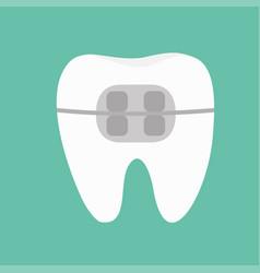 White tooth braces icon brace teeth cute cartoon vector