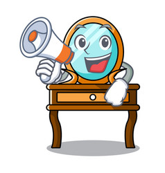 With megaphone dressing table character cartoon vector