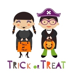 A happy Halloween kids couple vector image vector image