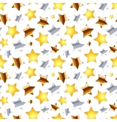 Golden silver and bronze stars on white seamless vector image vector image