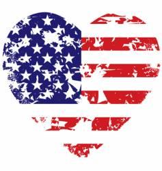 grunge American flag heart background vector image