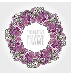 Round frame of flowers and some floral elements vector image vector image