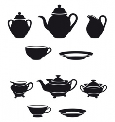 tea sets vector image vector image