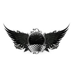 Wings Black Racing emblem vector image