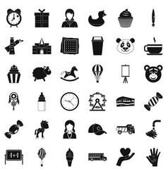 playing center icons set simple style vector image
