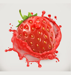 strawberry juice fresh fruit 3d icon vector image vector image