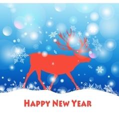 deer walking through the snow vector image vector image
