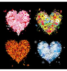 Four seasons heart - spring summer autumn winter vector image