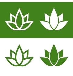 Green Lotus Plant Icon Set Logo vector image vector image