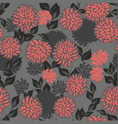 Seamless pattern with stylized flowers on a gray vector