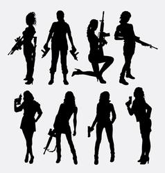 Woman and gun sexy pose silhouette vector