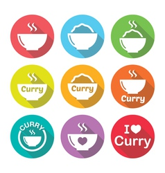 Curry Indian spicy food icons set vector image