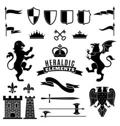 Heraldic Elements Black White Set vector image
