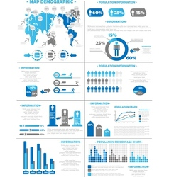 INFOGRAPHIC DEMOGRAPHICS POPULATION 3 BLUE vector image