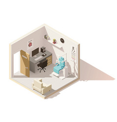 isometric low poly ophthalmologist office vector image vector image