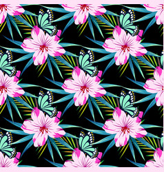 pattern with flowers on black vector image vector image