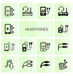 14 headphones icons vector image