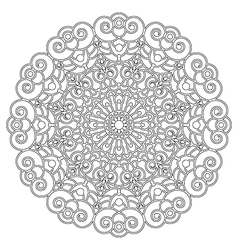 Adult coloring book spiral mandala black and white vector