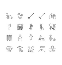 agronomy line icons signs set outline vector image