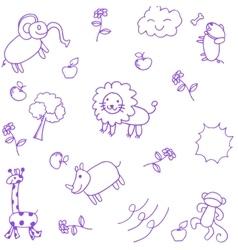 Animals doodle set vector