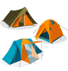 Awning tourist camping tents icons collection vector