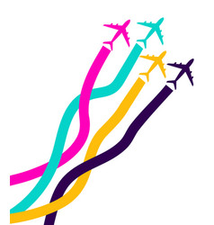 banner with colorful airplanes business avia card vector image