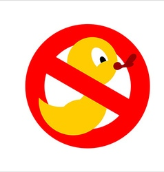 Banning sign Yellow rubber duck for bathing vector