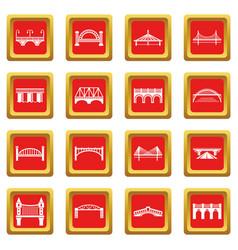 bridge icons set red square vector image