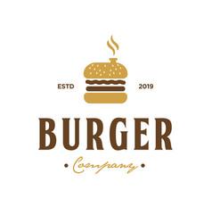 Burger company vintage logo design inspiration vector