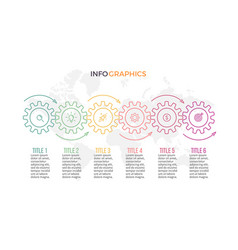 business infographics timeline with 6 gears vector image