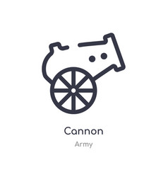 Cannon outline icon isolated line from army vector