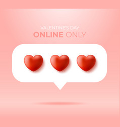 card or flyer valentine realistic red heart like vector image