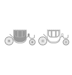 carriage grey set icon vector image vector image