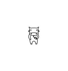 Cartoon line cow drink logo design icon mascot vector