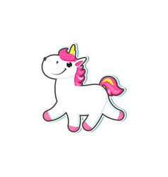 Cartoon unicorn character isolated vector