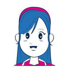 Cartoon woman face smiling with blue hair vector