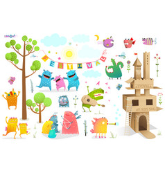 children festival game characters summer castle vector image