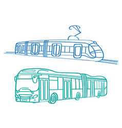 City bus and tram vector