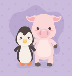 Cute and little penguin and pig characters vector