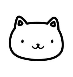 Cute cat face happy cartoon design thick line vector