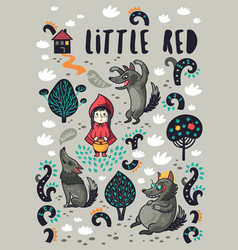 Cute little girl and gray hungry wolf cartoon vector