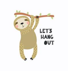 Cute sloth card vector
