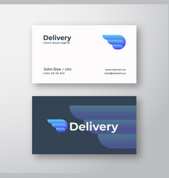 Delivery abstract logo and business card vector