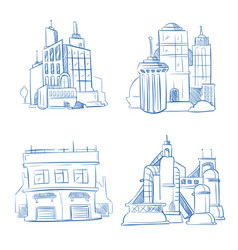 Doodle modern business office industry factory vector